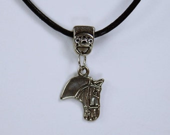 Necklace horse - horses necklace silver horse head on a black leather strap horse riding equestrian jewelry