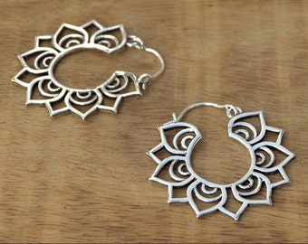 Tribal Lotus Earrings, Tribal Silver Earrings, Lotus Flower Earrings, Silver Hoop Earrings, Tribal Hoops, Gypsy Earrings, Indian Earrings