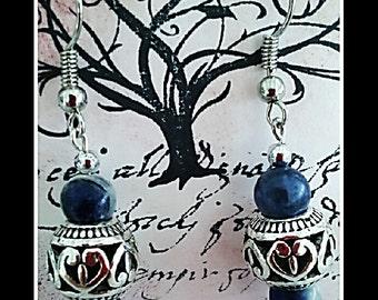Blue earrings, silver earrings, sodalite earrings, blue dangles, silver filigree, blue stone earrings