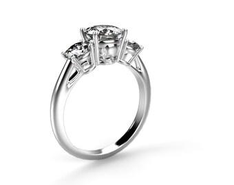 Skull Engagement Ring 14k White Gold Skull Ring 14k Goth Engagement Ring Goth Ring Skulls Ring White Gold Skeleton Ring Diamond Alternative