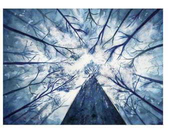 forest sky painting blue forest watercolor tree dark woods painting dark forest art print nature watercolor winter forest sky watercolor