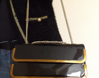 60s patent black leather evening bag chain handle essell