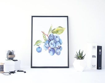 Blueberry Art, Blueberry Kitchen Decor, Blueberry Painting, Fruit Watercolor, Painting Watercolor, Kitchen Printable Art, Art Watercolor