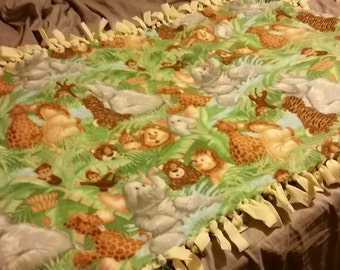 No see jungle theme baby blanket