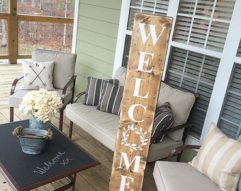 Welcome, Reclaimed Wood, Welcome Sign, Farmhouse Style, Laurel, Rustic, Cream, Wooden, Front Porch Welcome Sign, Farmhouse Style, Entryway