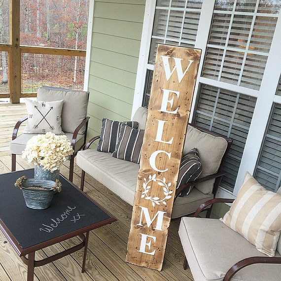 Welcome Reclaimed Wood Welcome Sign Farmhouse Style