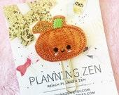 Sparkly Kawaii Pumpkin Embroidered Felt Planner Clip