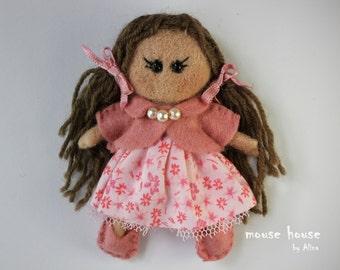Pink Dress Doll, Small dolls, Mini dolls, Cloth dolls, Ornament dolls, Felt brooch, Handmade dolls, Rag dolls, Pocket dolls, Gift for a girl