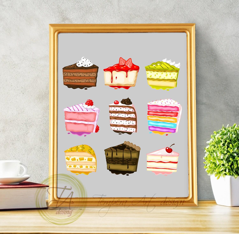 Desserts Cake Decor Cakes Slices Decor Sweets Print