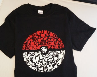 Pokeball-Pokemon Short Sleeve Shirt-Pokemon Characters in the shape of  Pokeball - Youth and Adult Sizes
