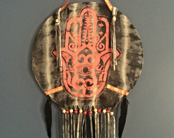Dreamcatcher- Black and Gray Tie Dye Fabric Hamsa Dreamcatcher with Beads and Feathers