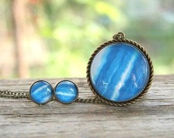 Solar system jewelry set, Neptune pendant, Neptune earrings, pendant and earrings, galaxy jewelry set, planet jewelry set, vintage jewelry