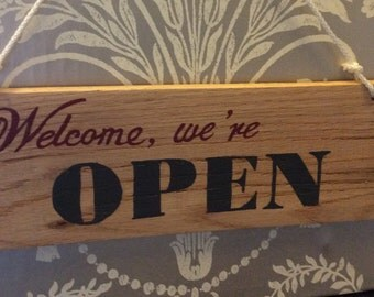Business signs- Open Closed signs -Welcome, we' re OPEN/Sorry, we're CLOSED   double sided wooden shop sign