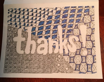 Zentangle Thank You Notecards