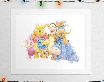 WINNIE THE POOH, Piglet, Eeyore, Tigger, Roo, Winnie The Pooh Disney, Winnie The Pooh Print, Watercolor, Nursery, Wall Art, Digital Print