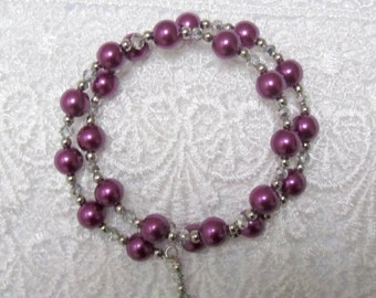 Plum/purple/burgundy glass pearl and crystal memory wire bracelet