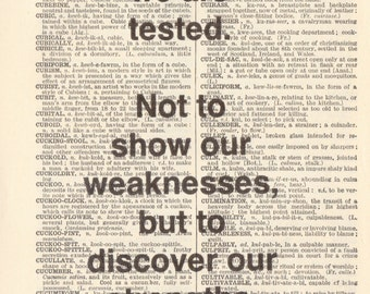 "Genuine Vintage 1948 Dictionary Page 5 x 7 Print ""Sometimes we are tested"" Quote"