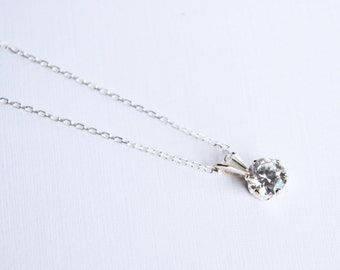 Cubic Zirconia Solitaire Necklace, CZ Necklace, Sterling Silver, CZ Pendant Necklace