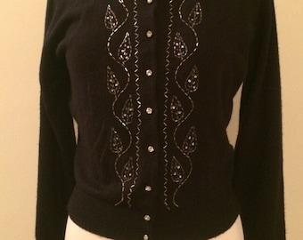 PRICE DROP!!! Georgous Elsa Schiaparelli 1950s Vintage Cardigan Sweater Beaded Rhinestone Leaf Pattern