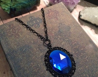 Sapphire blue necklace // blue crystal necklace // black gothic necklace // Victorian necklace // vintage necklace