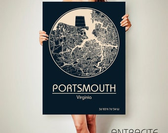 PORTSMOUTH Virginia CANVAS Map Portsmouth Virginia Poster City Map Portsmouth Virginia Art Print Portsmouth Virginia