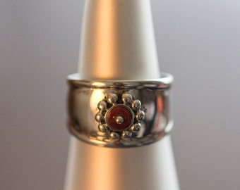 Silver Red Flower Spondylus Ring