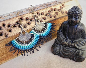 Macrame earrings 'Blue lagoon', bohemian jewelry, boho earrings, tribal jewelry, hippie style, gypsy earrings, elven jewelry, gypsy jewelry