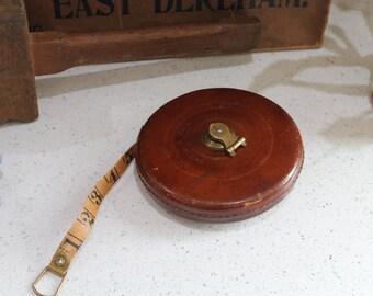 Vintage Rabone Tape Measure/Vintage Tools/Leather Tape Measure