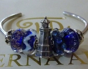 Silver 925 Bead with rotating head lighthouse