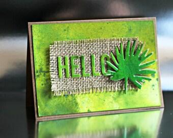 Vibrant Leaf Design Handmade Greeting Card, Hello Greeting Card, Just Because Card, Hello Card, Card with envelope, Friendship Card, Hi Card