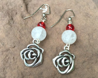 Red and White Rose Earrings