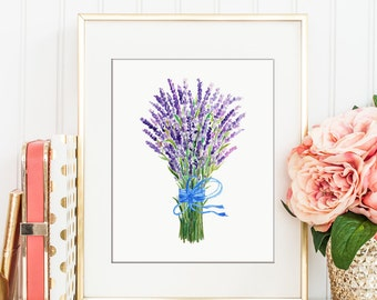 Printable bunch of lavender with blue ribbon, kitchen decor, wall art, herb illustration