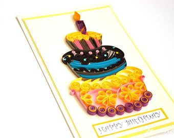 Happy Birthday quilling card/ Quilling card/ Art card/ 3d card/ birthday cake/ Colourful card/