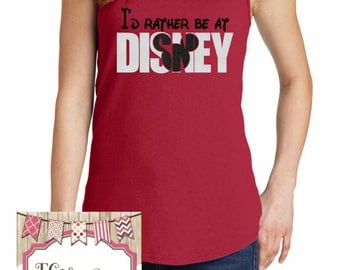 I'd Rather Be At Disney Glitter Mickey Mouse Tank Top, Mickey Mouse Shirt, Disney Vacation Tank Top, Mickey Mouse Tank, Disney Tank, Mickey