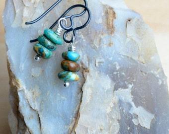 Kingman Turquoise Earrings Simple Turquoise Niobium Earrings Everyday Gemstone Jewelry Boho Chic Jewelry Allergy Free Petite Stone Drops