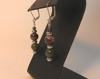 Purple and green stone bead earrings