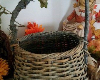 Hademade Woven Basket with Tree Limb Handle