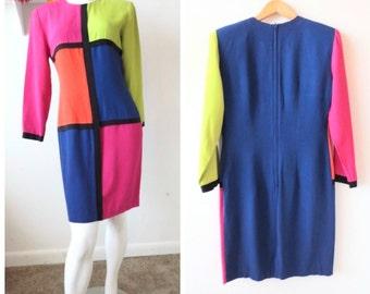 Vintage 80s Mod Retro Color Block Dress // by Scarlett // Size Medium