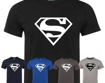 Mens Superman tshirt Sport Gym T-Shirt marvel comic superhero tee