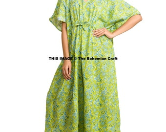 Green Floral Caftan, Tunic, Swim Cover Up, Perfect Long Dress, Maxi, Plus Size Gown, Indian Cotton Kaftan, Hippie Dress, Bohemian Dress