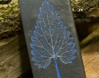 Glittery Blue and Black Leaf Imprint Pendant