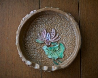 SALE! Vintage Handmade Ashtray with Waterlillies and Dragonflies