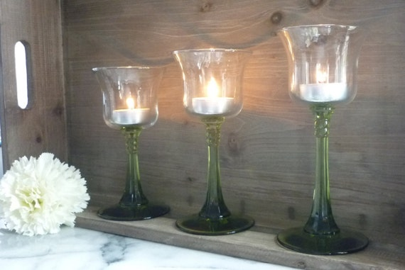 Three Glass Candle Holders with green glass stems, 6 to 7 Inches wedding table center piece, birthday, unity, Celebration, anniversary gift