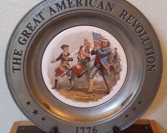 Bicentennial pewter plate/pewter plate/collectible plate