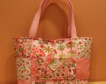 Quilted Tote Bag - Pink and Green