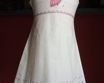 dress, embroidered, girl, dress, white, pink, embroidered, hand, sundress, ramp, clothing, girl, 4 years, 6 years, princess dress