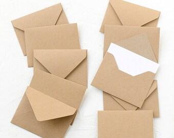 10 Tiny Kraft Paper Envelopes with White Inserts, Invitations, Business Card Envelopes, Favor Envelopes, Birthday,Wedding,Birthday,Recycled