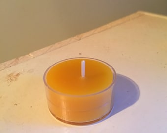 Pure Beeswax Tealight Candle - Unscented - Plastic