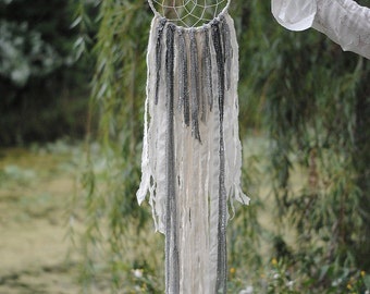 White Dream Catcher - Silver Dream Catcher - Boho Dreamcatcher