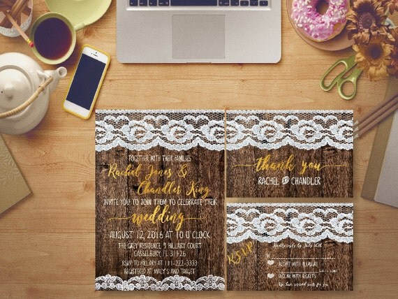 Brides Wedding Invitation Kits: Rustic Wedding Invitation Printable Lace Gold Foil Bridal